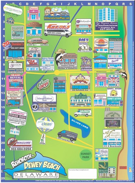 Rehoboth Beach Delaware Cartoon Map