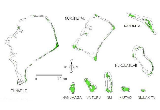 Relative size of Tuvalu Islands and atolls Map funafuti tuvalu