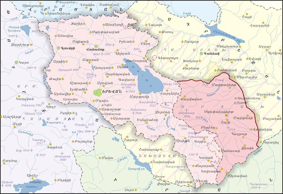 Republic of Armenia and NagornoKarabakh Republic Artsakh Map