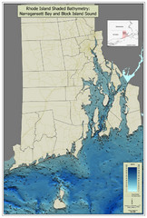Rhode Island Shaded Bathymetry Map