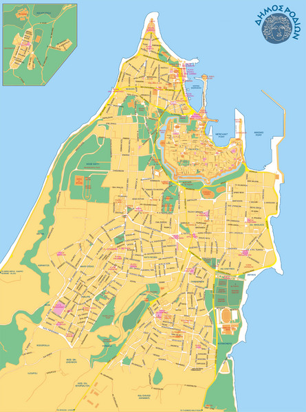 Rhodes City Map Rhodes Greece Mappery