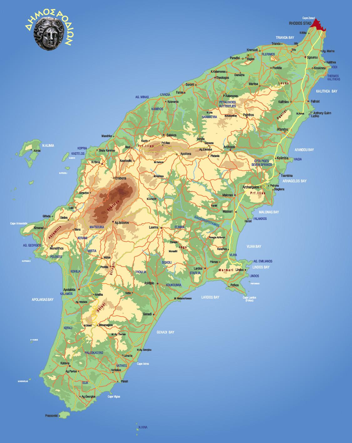Rhodos Karte Faliraki.Rhodes Physical Map Rhodes Greece Mappery