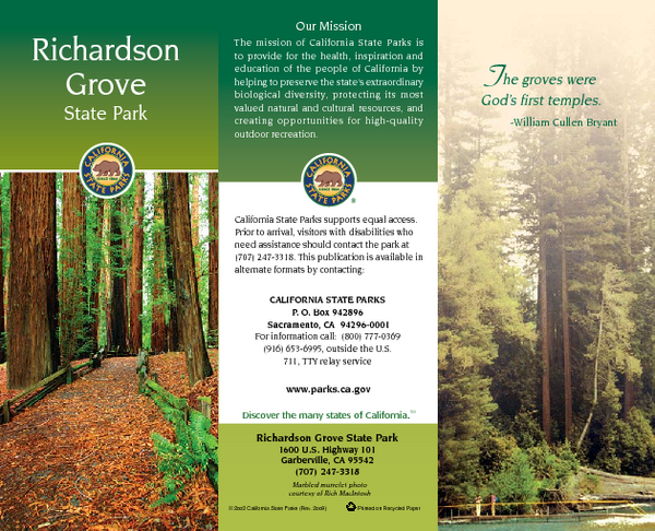 Richardson Grove State Park Map 1600 US Highway 101 Garberville CA