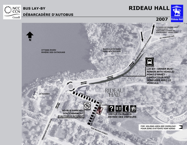Rideau Hall Tour Bus Lay-By Map