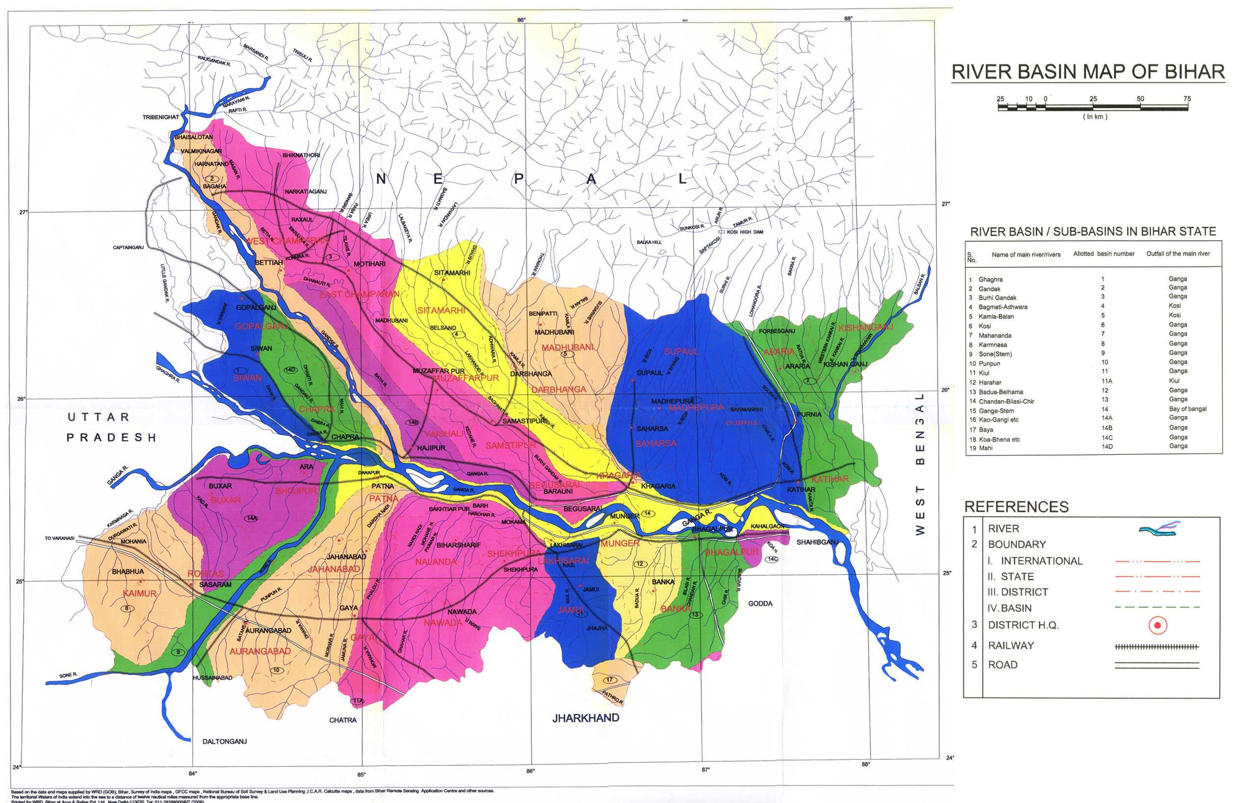 Worksheet. River Basin of Bihar Map  Bihar  mappery