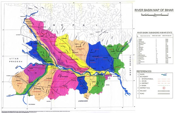 River Basin of Bihar Map
