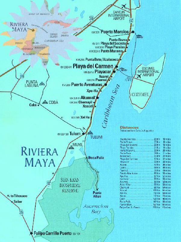 Riviera Maya Mexico Tourist Beach Map - Riveria Maya Mexico • mappery