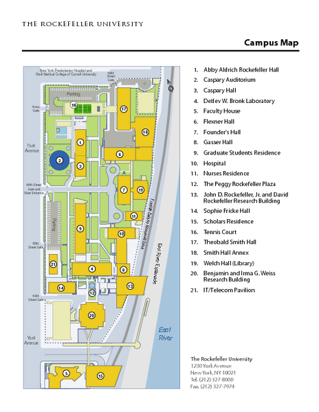 Subway Map To Rockefeller.Rockefeller University Campus Map 1230 York Avenue New York Ny