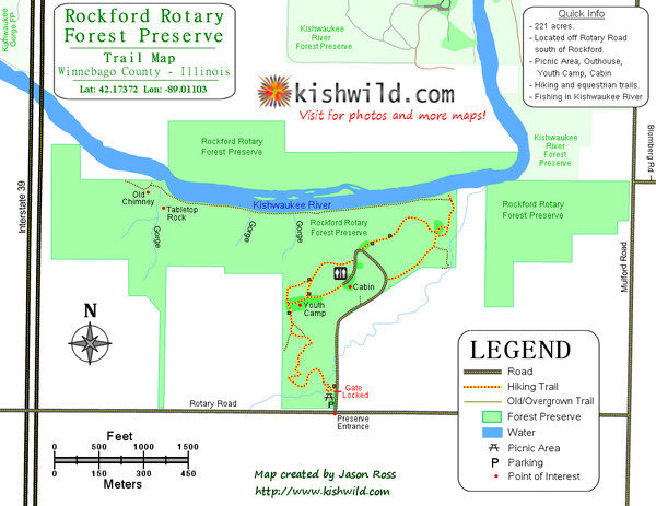 Rockford Rotary Forest Preserve Map
