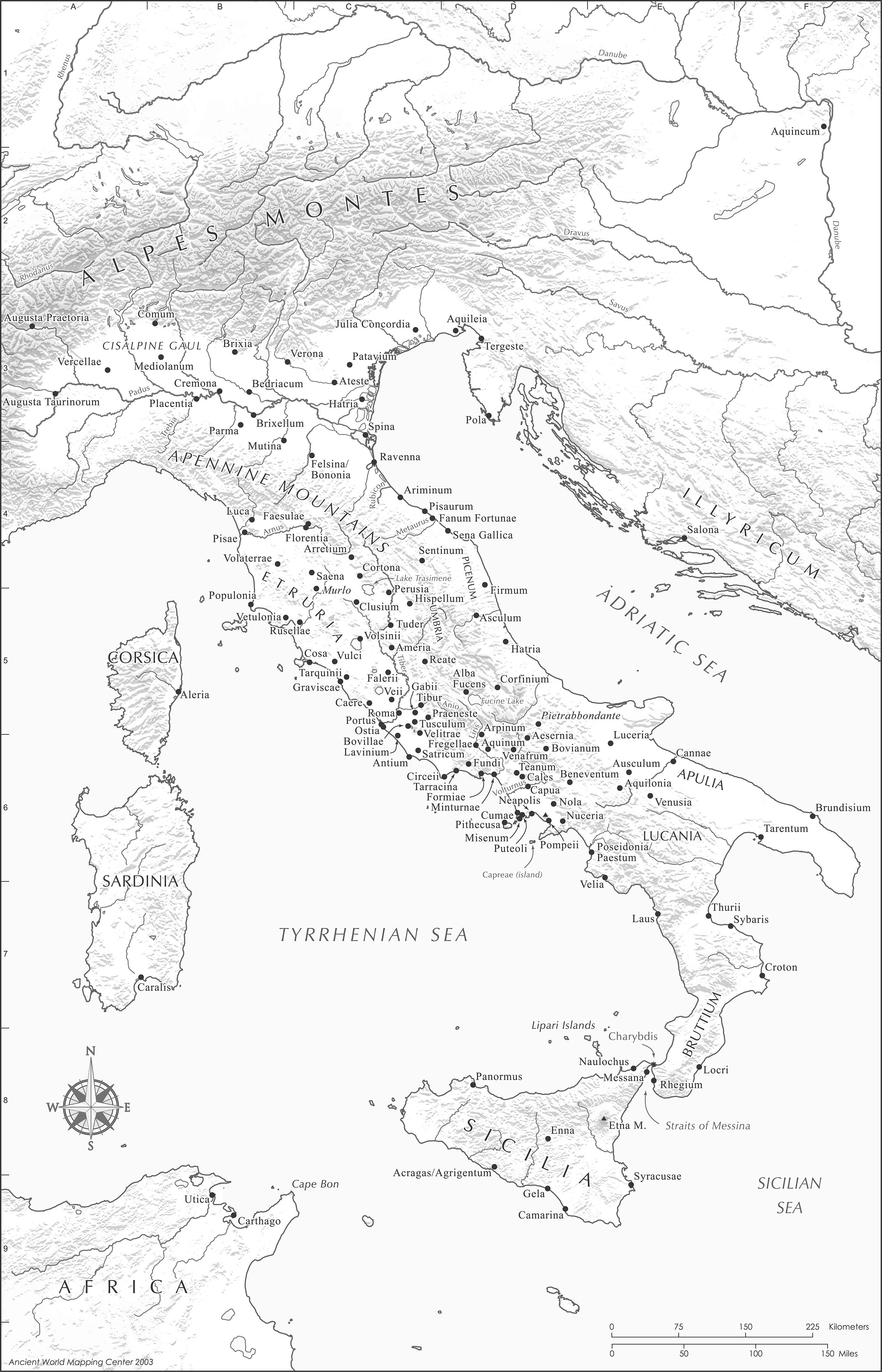 Roman Italy Map   Italy • mappery