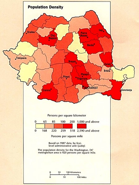 Romania Population Density Map