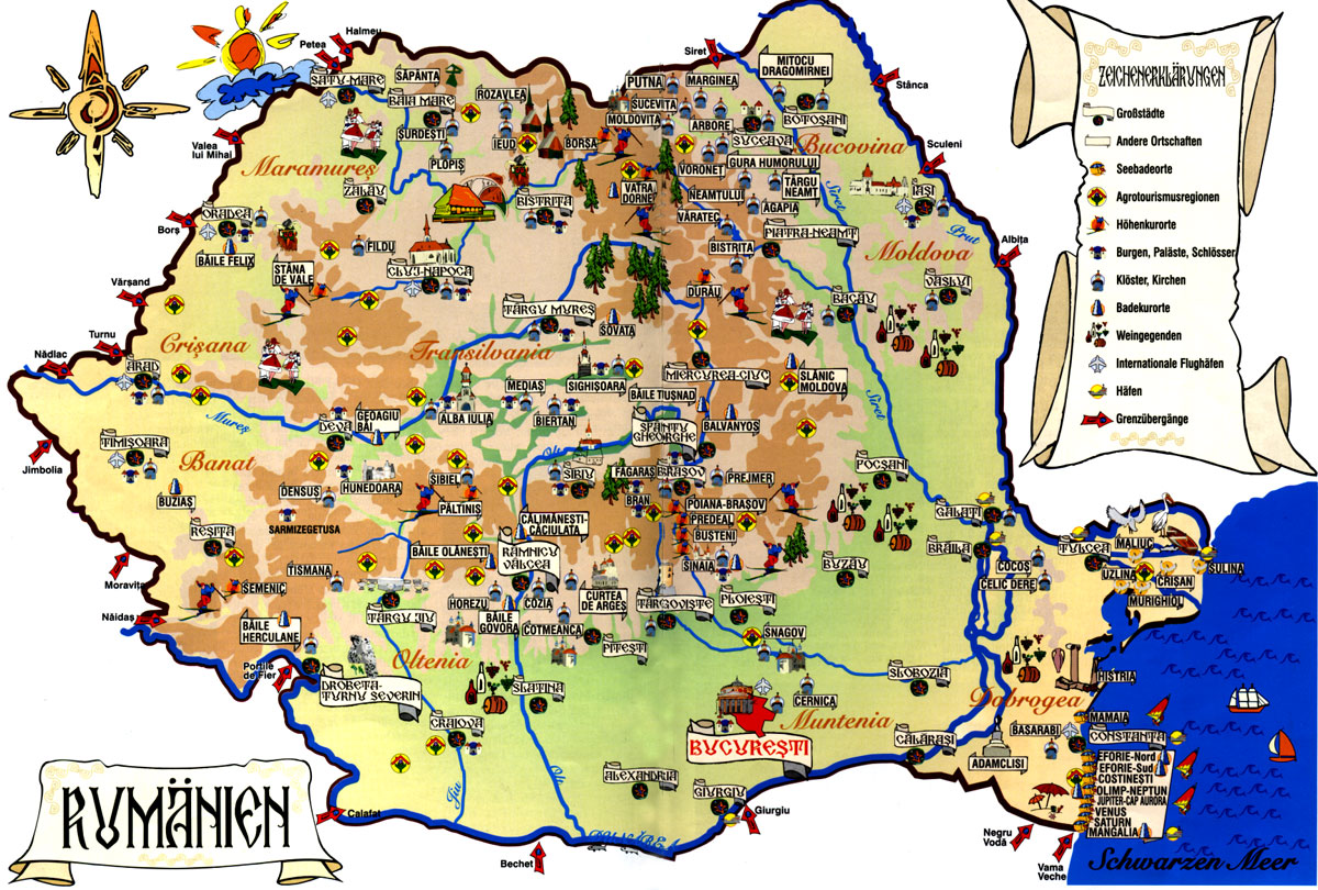 Romania online maps geographical political road railway – Poland Tourist Attractions Map