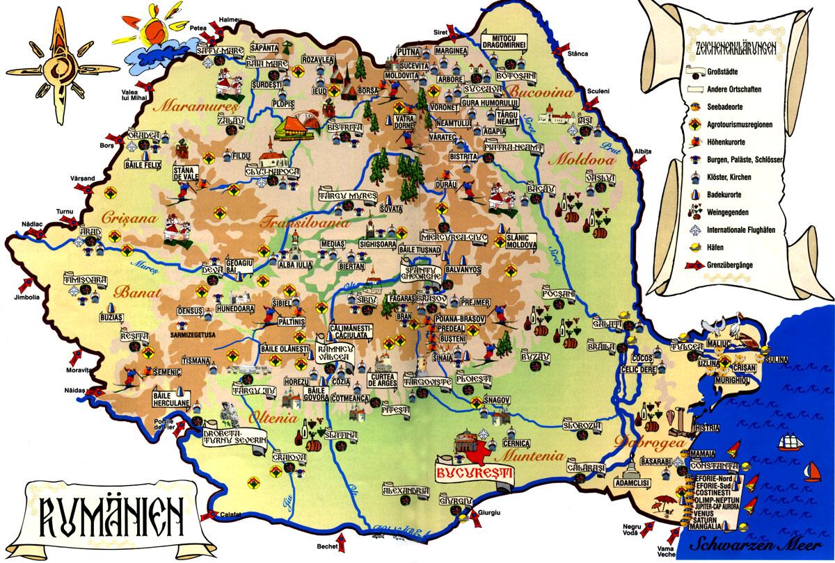 Romania Tourist Map Romania Mappery