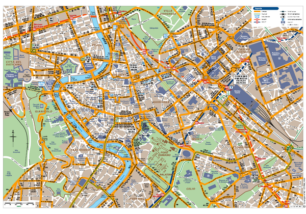 Detailed map of Rome-2 -with