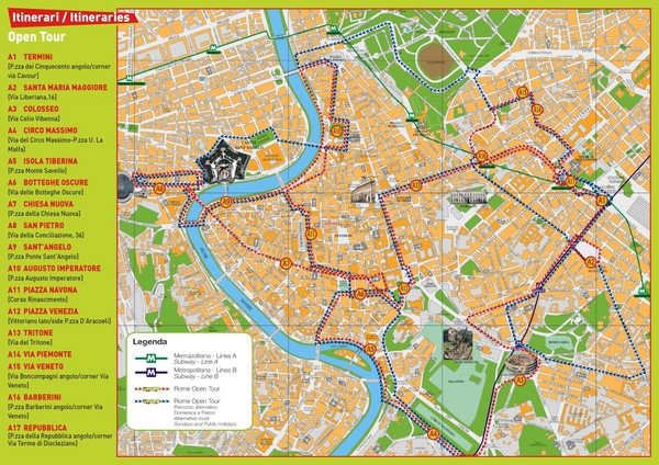 Rome City Tourist Map Rome Mappery