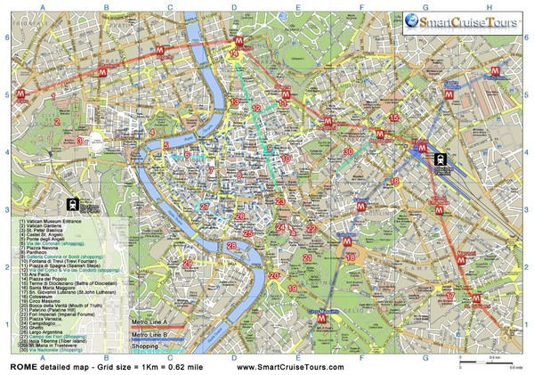Rome Downtown Printable Map Rome mappery – Tourist Maps Of Rome