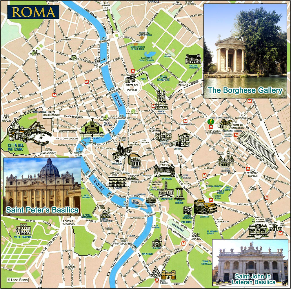 Rome Tourist Map Rome Italy Mappery