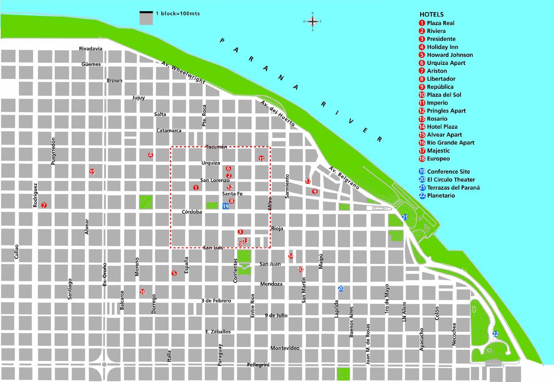 Rosario Tourist Map Rosario Santa Fe Argentina mappery – Santa Fe Tourist Map