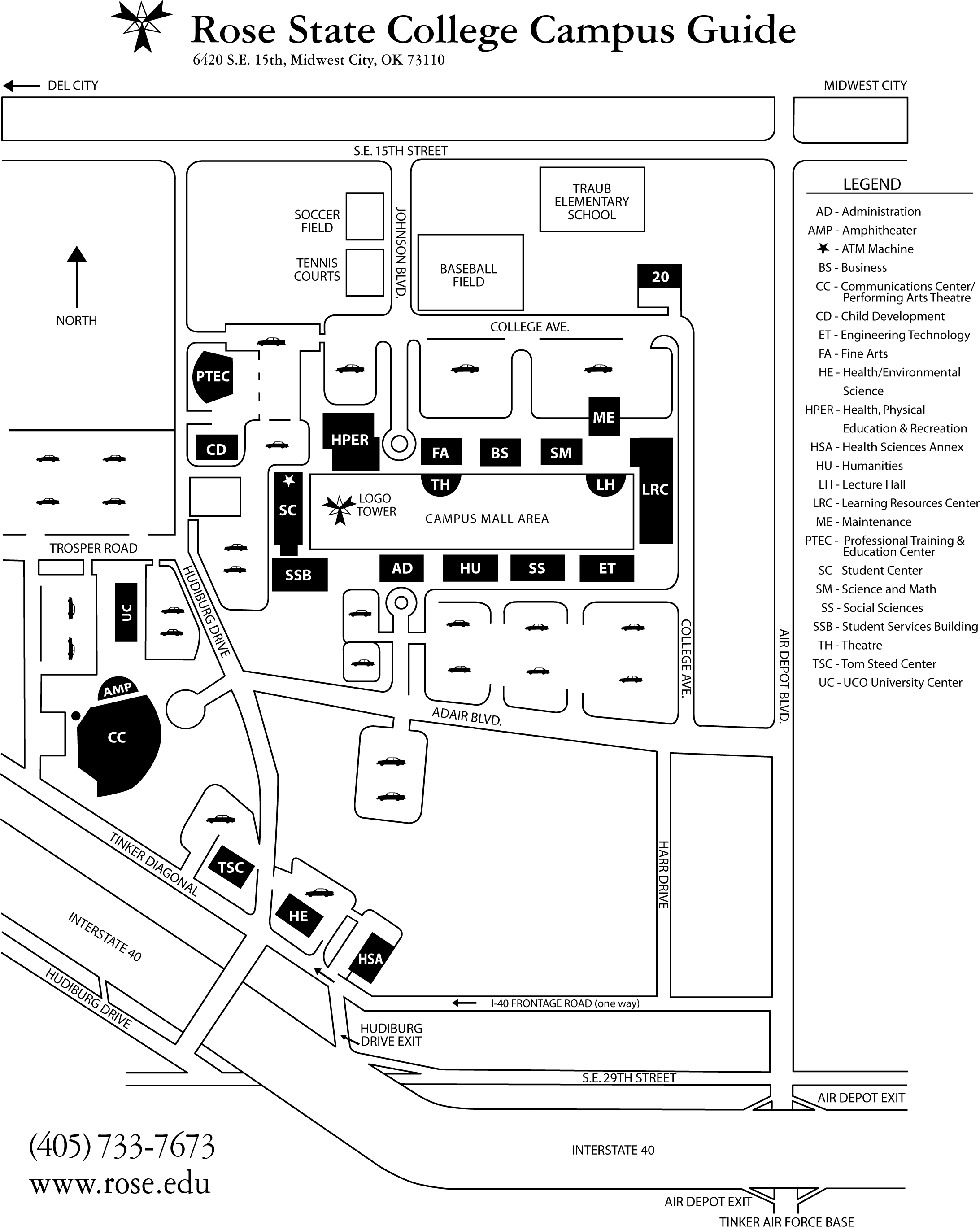 Rose State College Campus Map Rose State College Midwest City Ok