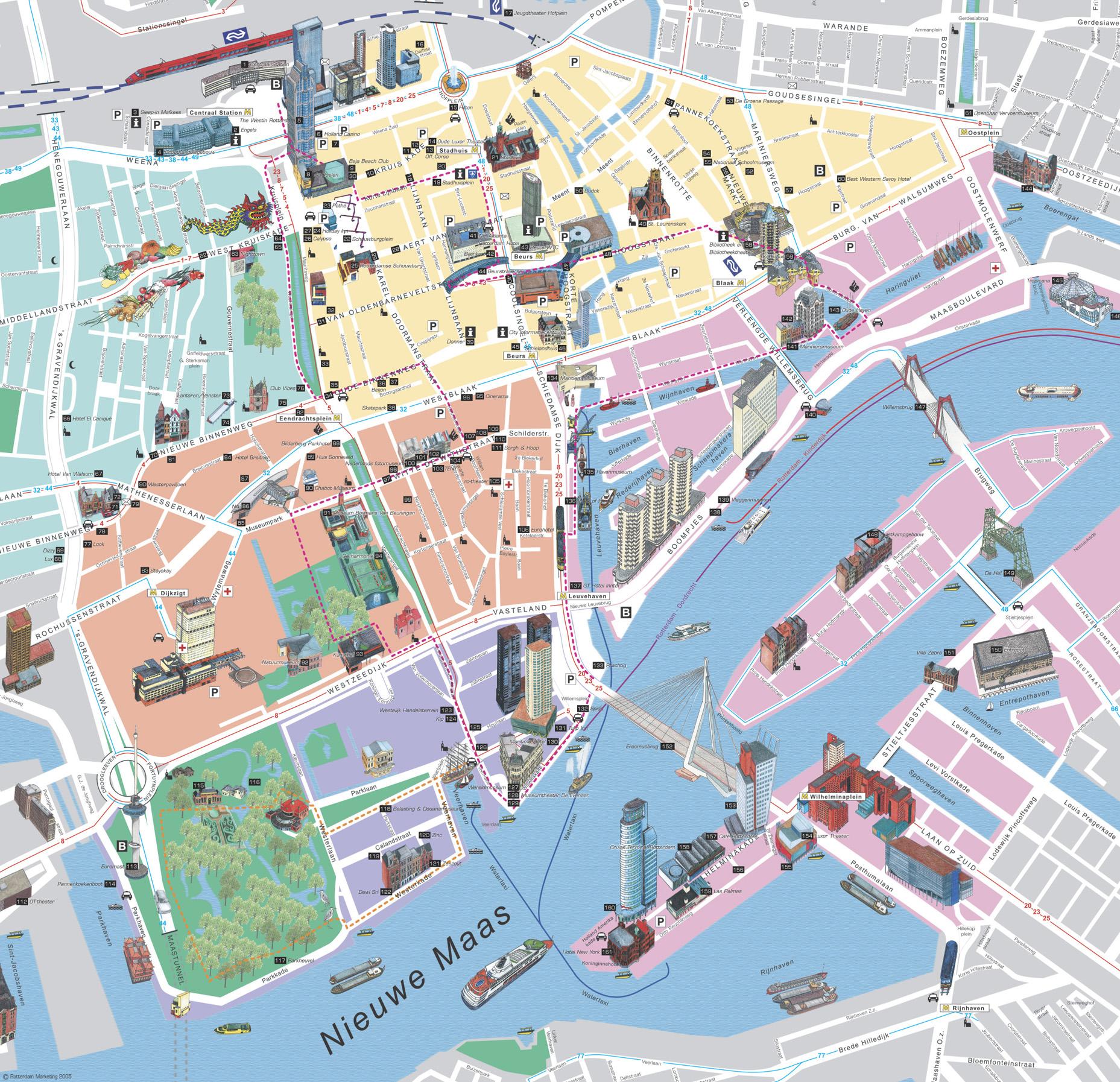 Rotterdam Tourist Map Rotterdam Netherlands mappery