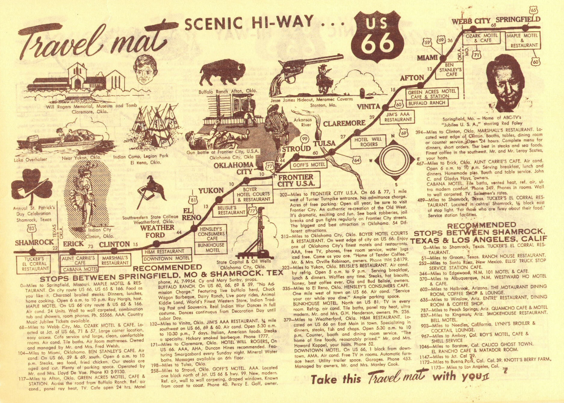 Historic Route 66 California Map.Route 66 Stops Between Shamrock Texas And Los Angeles California Map