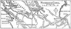 Route of Nicaragua Canal 1906 Map