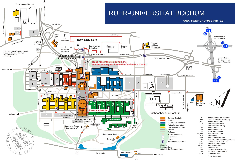 Ruhr Universitat Campus Map Universitaumltsstr 150 Bochum Germany