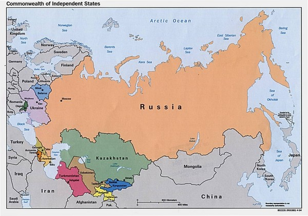 Russia, Northern China and Northern Asia Map