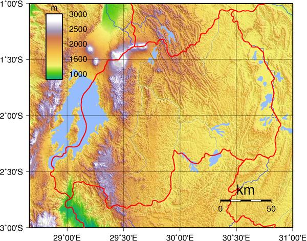 Rwanda Topography Map Mappery - Rwanda map