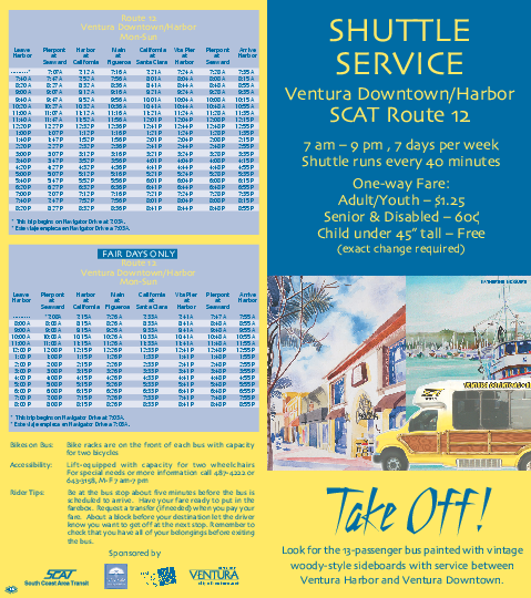 SCAT Shuttle Map: Ventura Harbor to Downtown Ventura, Ventura, California