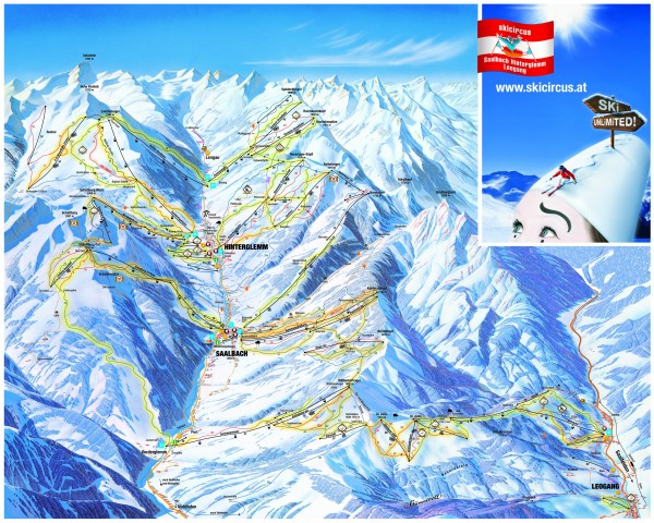 Saalbach and Hinterglemm Ski Trail map