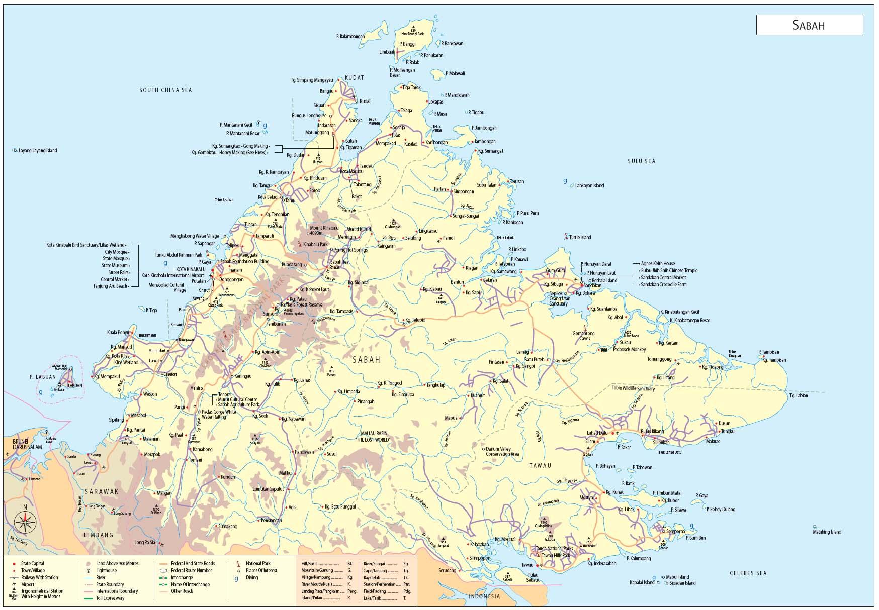 Sabah Map Sabah Malaysia mappery