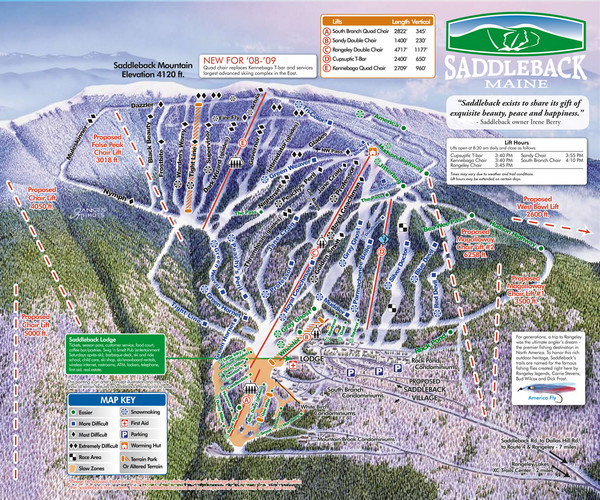 Saddleback Ski Area Ski Trail Map - Rangeley Maine United ... on maine united states map, discovery ski resort trail map, maine atv trail map, maine county map with towns,