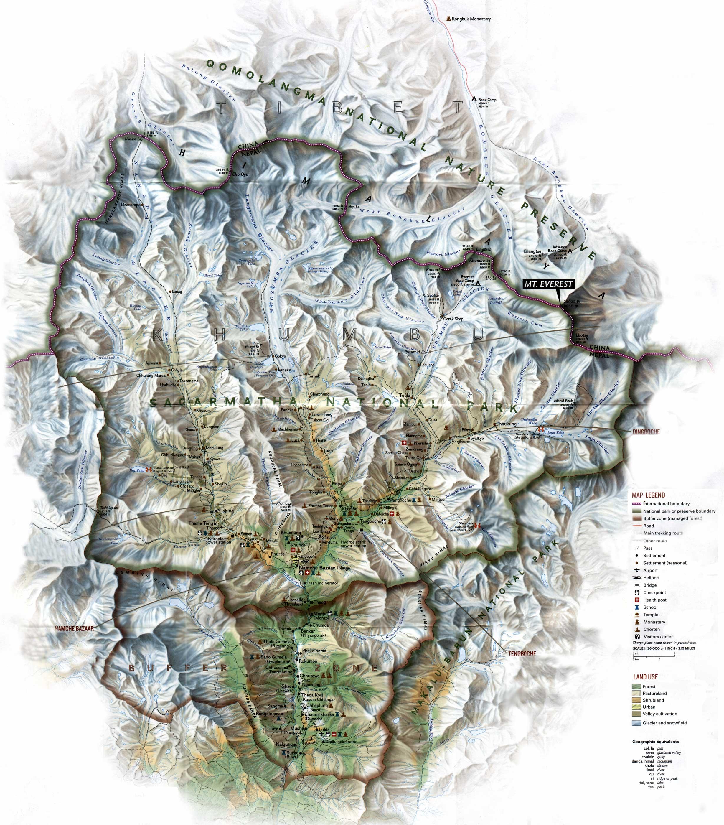 Sagarmatha National Park Map Sagarmatha National Park