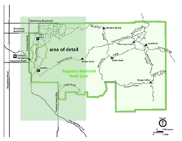 Saguaro National Park Map Rincon District Saguaro National Park