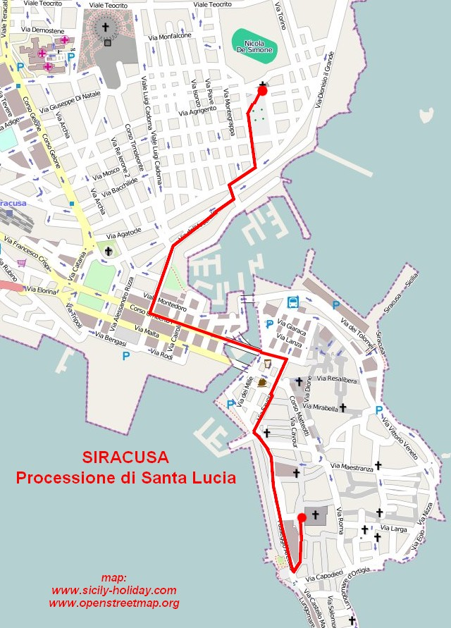 Saint Lucys procession in Syracuse Map siracusa mappery
