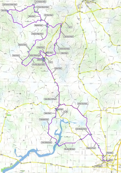 Salem Backroads Century Course Map
