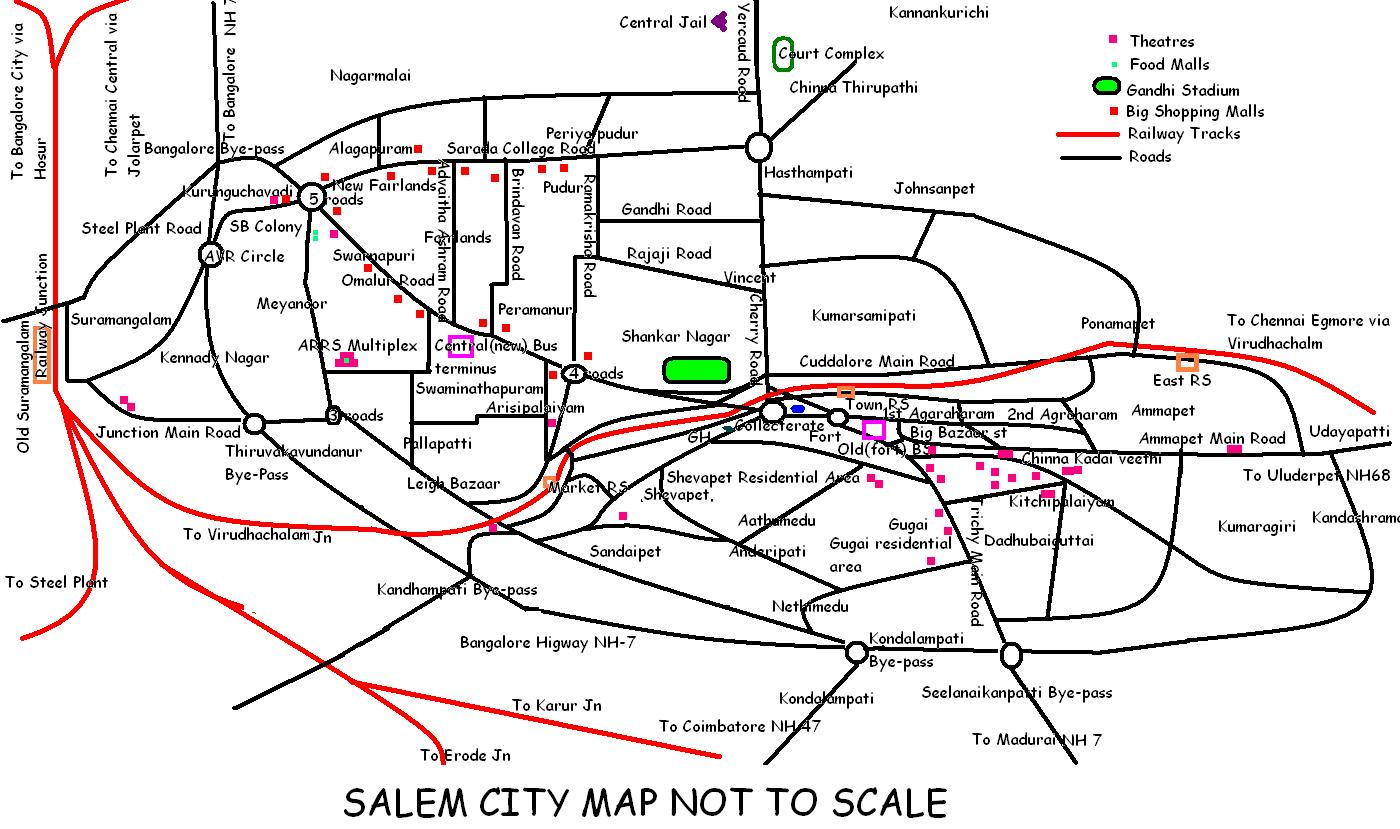 Salem City Map  Salem India  Mappery