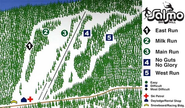 Salmo Ski Area Ski Trail Map