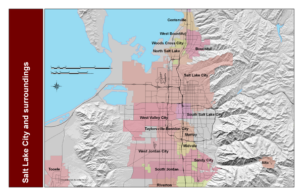 Salt Lake City and Surrounding Area Map