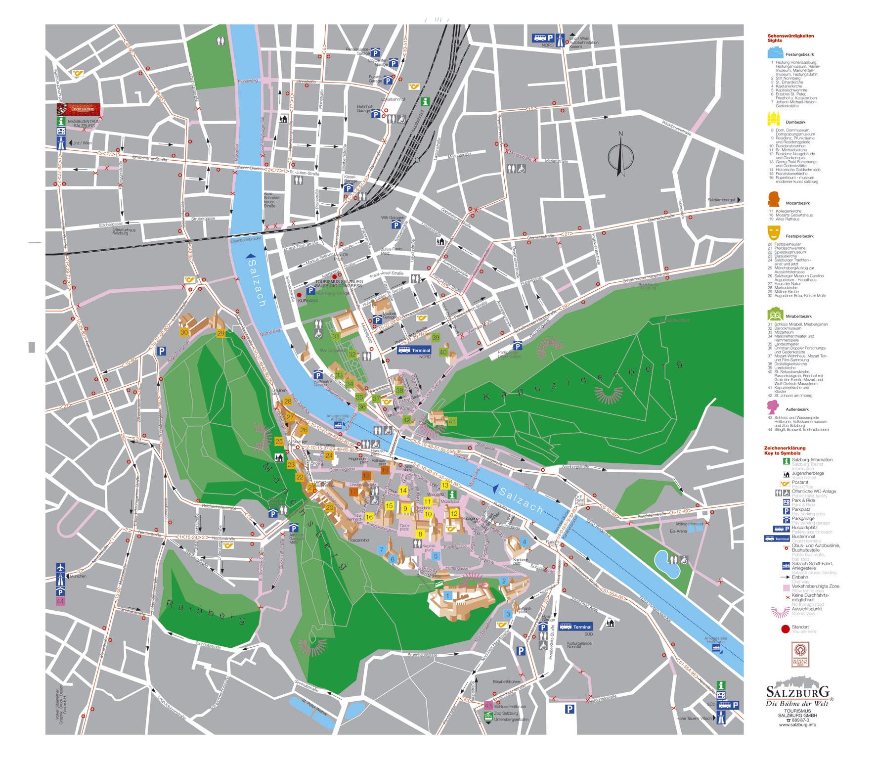 Salzburg Tourist Map Salzburg Austria mappery – Salzburg Tourist Map