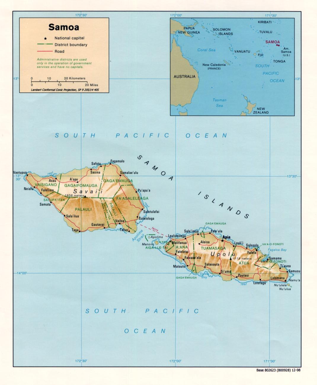 samoa islands map samoa mappery