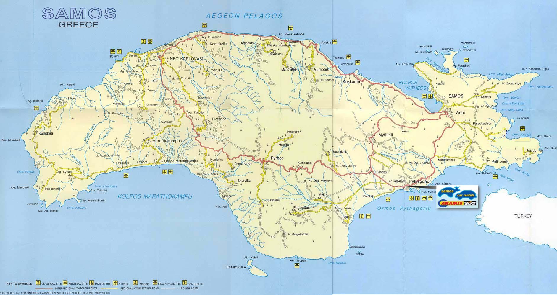 Samos Tourist Map See map details From samos-car-rentals.com Created 6 ...