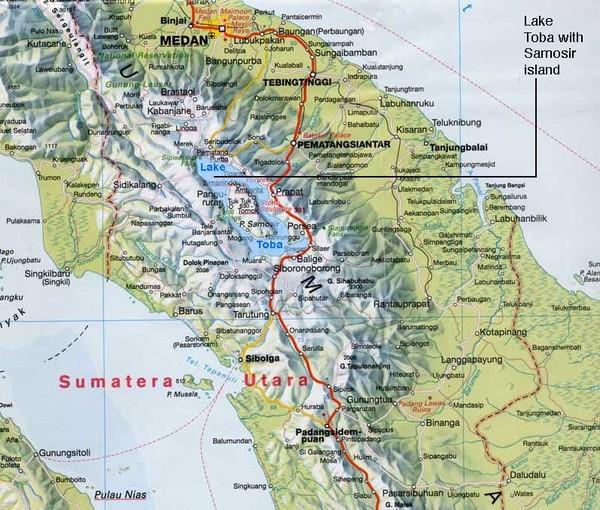 Samosir island Lake Toba Sumatra Map sumatra mappery