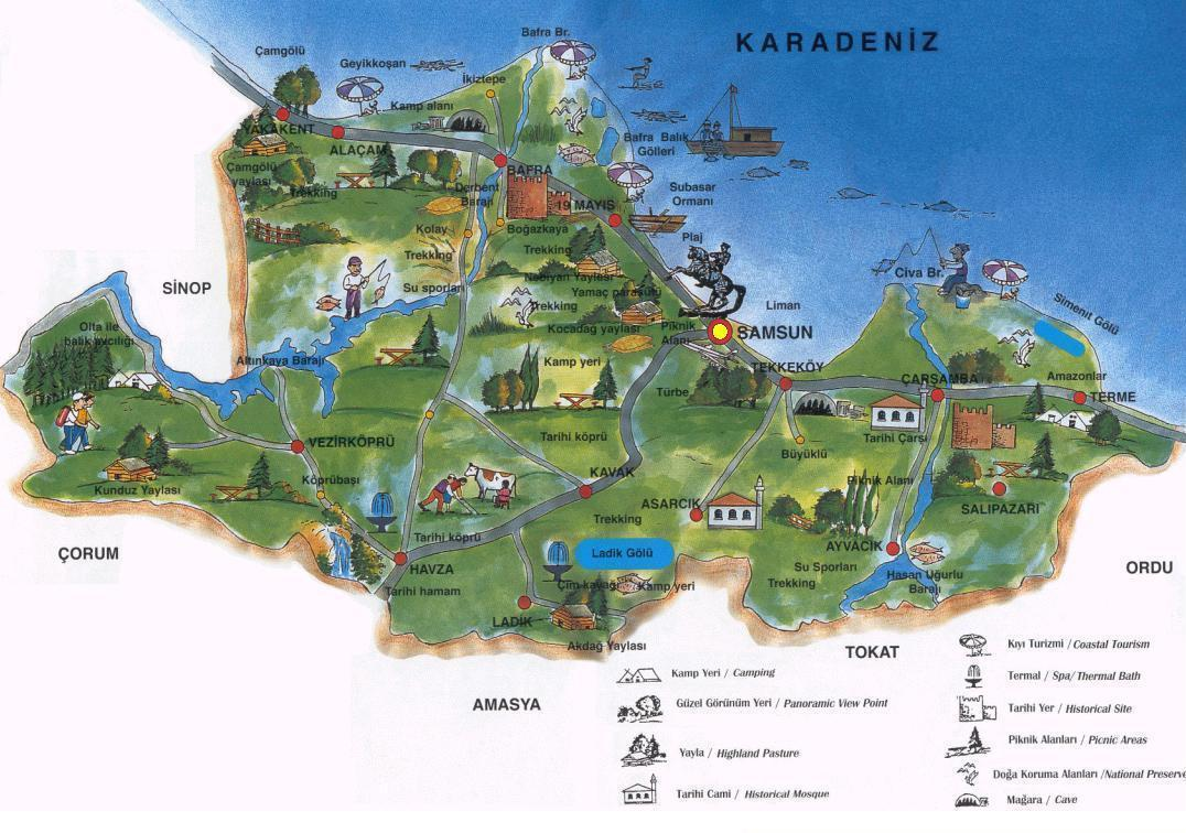 Samsun Tourist Map Samsun Turkey mappery