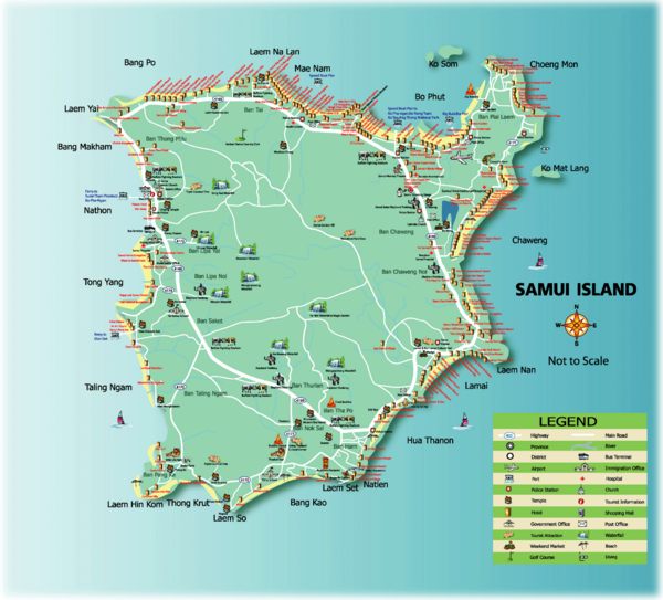 Samui Tourist Map Samui Thailand mappery – Thailand Tourist Map