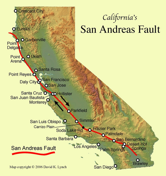San Andreas Fault California Map California Mappery