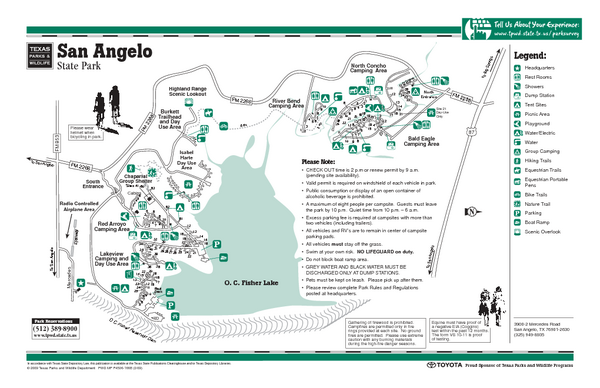 san angelo texas state park facility and trail map san angelo