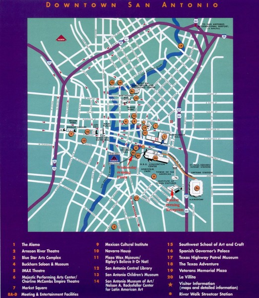 San Antonio Downtown Tourist map San Antonio TX mappery