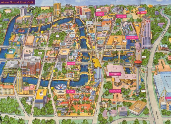 Downtown San Antonio Map San Antonio Texas mappery